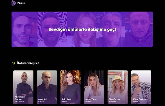 Ünlülerden Hediye Video Almanızı Sağlayan Platform Popile